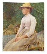 Seated Lady Fleece Blanket