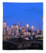 Seattle Skyline 3 Fleece Blanket