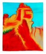 Sedona Hills - Fire At Sunset - Arizona Fleece Blanket