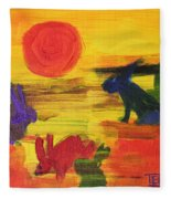 Seeing Rabbits Fleece Blanket