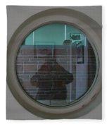 Self Portrait In A Circular Glass On The Wall Fleece Blanket