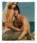 Sensual Portrait Of A Young Couple On The Beach Fleece Blanket