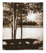 Sepia Picnic Table Fleece Blanket