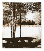 Sepia Picnic Table Ll Fleece Blanket