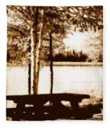 Sepia Picnic Table Lll Fleece Blanket
