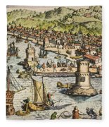 Seville: Departure, 1594. /ndeparture For The New World From Sanlucar De Barrameda, The Port Of Seville, Spain. Line Engraving, 1594, By Theodor De Bry Fleece Blanket