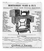 Sewing Machine Ad, 1895 Fleece Blanket
