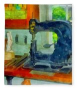 Sewing Machine In Harness Room Fleece Blanket