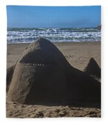Shark Sand Sculpture Fleece Blanket