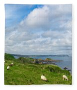 Sheep On A Hill Fleece Blanket