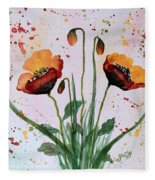 Shining Red Poppies Watercolor Painting Fleece Blanket