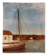 Ship At Dock Fleece Blanket