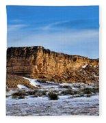 Ship Rock In Kansas Fleece Blanket