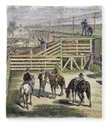 Shipping Cattle, 1877 Fleece Blanket