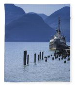 Shipping Freighter In Squamish British Columbia No.0201 Fleece Blanket