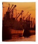 Shipping Freighters At Sunset Fleece Blanket