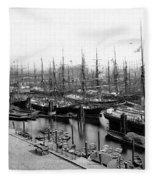 Ships In Harbour 1900 Fleece Blanket