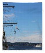 Ships In Oslo Harbor Fleece Blanket