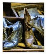 Shoe - Vintage Ladies Boots Fleece Blanket