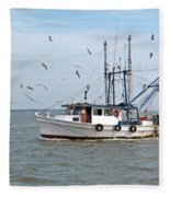 Shrimp Boat And Gulls Fleece Blanket