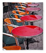 Sidewalk Cafe In Paris Fleece Blanket