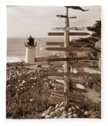 Sign At Point Montara Lighthouse - Sepia Fleece Blanket