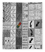 Signs Black And White Fleece Blanket