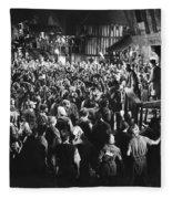 Silent Film Still: Crowds Fleece Blanket