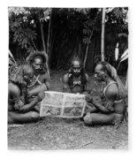 Silent Film Still: Natives Fleece Blanket