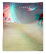 Silent Night - Red And Cyan 3d Glasses Required Fleece Blanket
