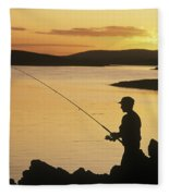 Silhouette Of A Fisherman Fishing On Fleece Blanket