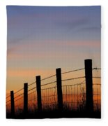 Silhouette Of Barbed Wire Fence Fleece Blanket