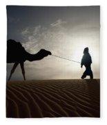 Silhouette Of Berber Leading Camel Fleece Blanket