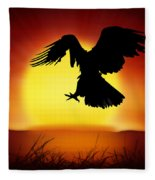 Silhouette Of Eagle Fleece Blanket