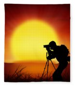 Silhouette Of Photographer With Big Sun  Fleece Blanket