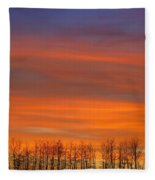 Silhouette Of Trees Against Sunset Fleece Blanket