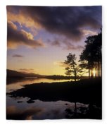 Silhouette Of Trees On The Riverbank Fleece Blanket