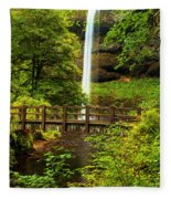 Silver Falls Bridge Fleece Blanket
