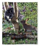 Silver Tabby And Wild Rabbit Fleece Blanket