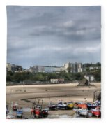 Simply North Beach From Tenby Harbour Fleece Blanket