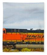 Single Bnsf Engine Fleece Blanket