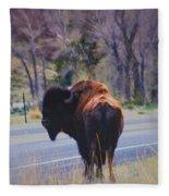 Single Buffalo In Yellowstone Np Fleece Blanket