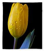 Single Yellow Tulip Fleece Blanket
