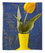 Single Yellow Tulip In Yellow Vase Fleece Blanket