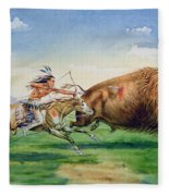 Sioux Hunting Buffalo On Decorated Pony Fleece Blanket
