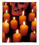 Skull And Candles Fleece Blanket