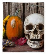 Skull And Gourds Fleece Blanket