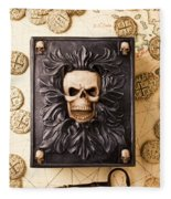 Skull Box With Skeleton Key Fleece Blanket