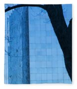Sky Scraper Tall Building Abstract With Windows Tree And Reflections No.0066 Fleece Blanket