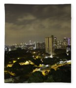 Skyline Of A Part Of Singapore At Night Fleece Blanket
